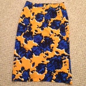Yellow and blue pencil skirt floral